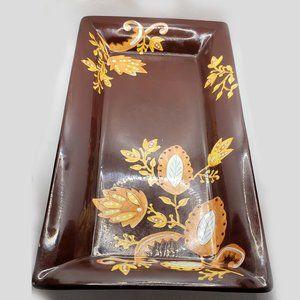 Gates Ware brown folk motive large platter tray